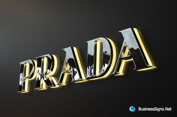 3D LED Backlit Signs With Mirror Polished Stainless Steel Letter Shell & 20mm Thickness Acrylic Back Panel For Prada. We produce it for one Prada store in Hongkong, because it's near the sea, we use the 316L stainless steel to build the letter shell, for better corrosion resistance. If you need to custom signs like this, please click the image then fill out the form and tell us your needs now.