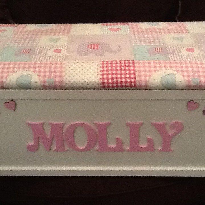 Pink elephant personalised toy box