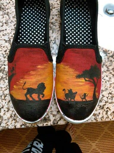 Lion king hand painted shoes