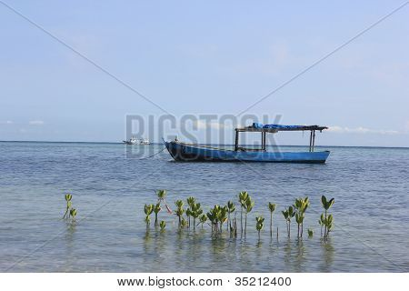 Boat on the sea of Tidung Island, Indonesia