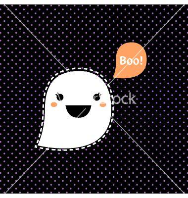 Cute kawaii halloween ghost isolated on black vector 1540989 - by lordalea on VectorStock®