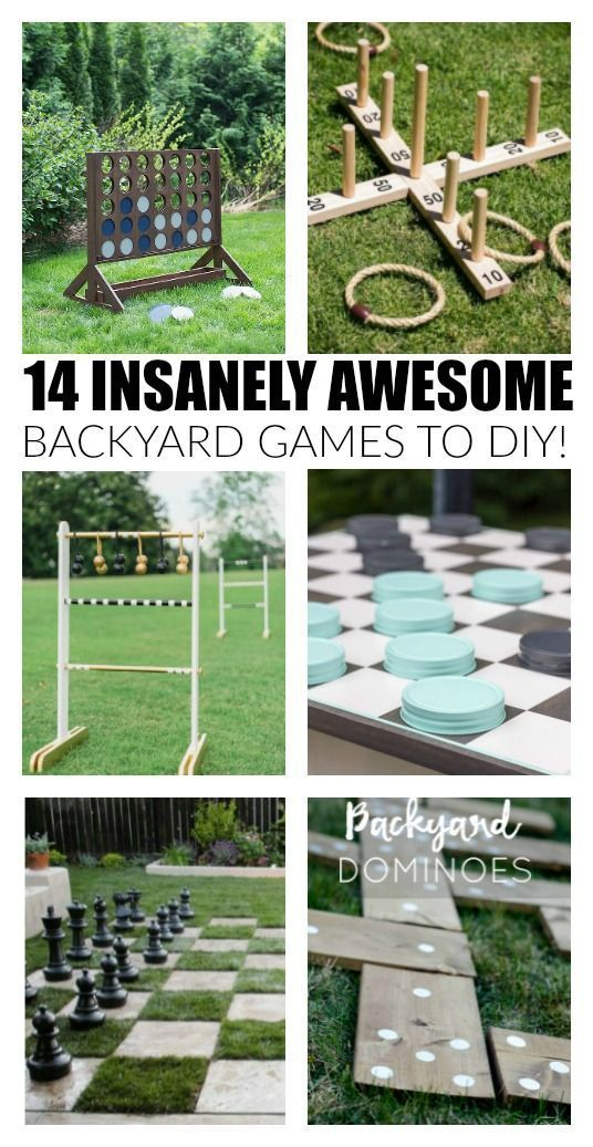 """14 insanely awesome and fun backyard games to DIY now! www.littlehouseoffour.com [ """"14 Insanely Awesome and Fun Backyard Games to DIY Now"""", """"Time to invite your friends over, fire up the grill and have some good"""