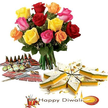 Diwali Sweets with Crackers N Roses #Diwali #Gifts