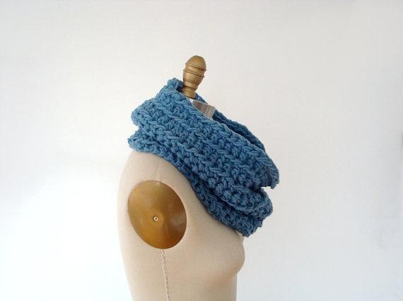 50 OFF SALE  crocheted neck cowl  blue grey gray  by dslookkin, $45.00