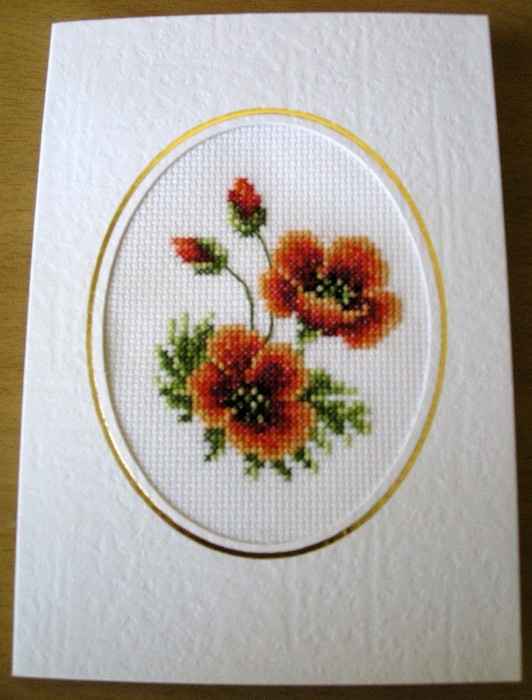ANZAC Poppy Card - Completed Cross Stitch - by Miss-E on madeit