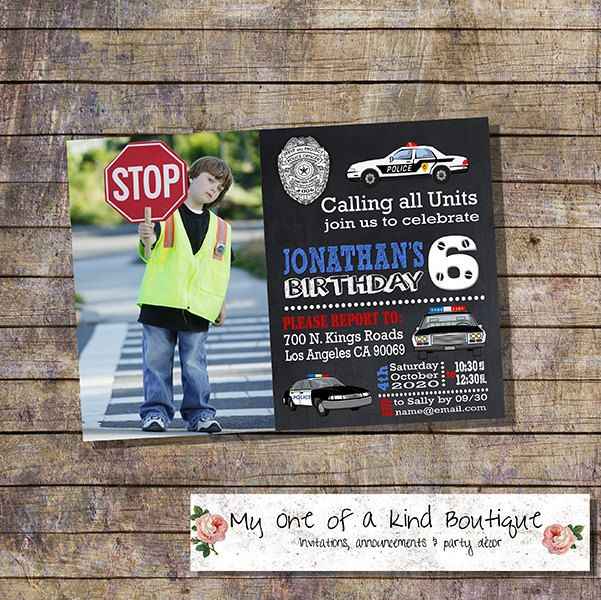 Police birthday invitation kids police cars chalkboard party photo invite officer policeman digital printable invitation 13946 by myooakboutique on Etsy