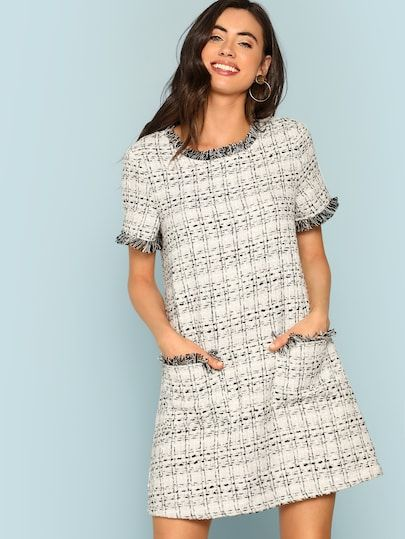 e2a12bbc4a Shop Frayed Edge Button Detail Tweed Dress online. SheIn offers Frayed Edge  Button Detail Tweed Dress & more to fit your fashionable needs.