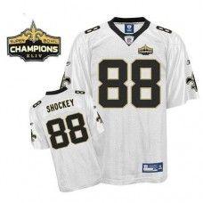 Saints #88 Jeremy Shockey White Super Bowl XLIV 44 Champions Stitched NFL Jersey