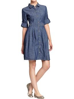 Women's Roll-Sleeve Chambray Shirtdresses | Old Navy