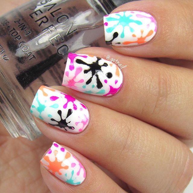 Splatter mani nail art! All polishes are @salonperfect sugar cube, oil slick…