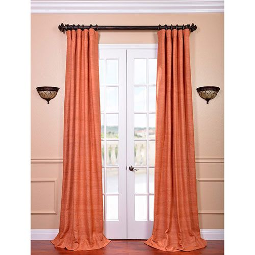 Exclusive Fabrics & Furnishings Terracotta 120 x 50-Inch Raw Silk Curtain Single Panel