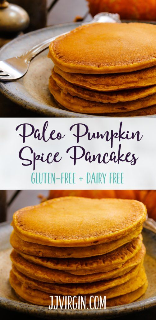 These light and fluffy gluten-free pancakes are full of incredible pumpkin spice flavor and healthy Paleo nutrition for the perfect fall breakfast! Get this gluten free, dairy free, paleo friendly recipe now.