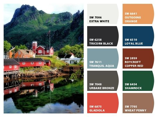 Norwegian Village Inspiration For Exterior Home Color Palette And Landscape  Colors/textures Chip It!