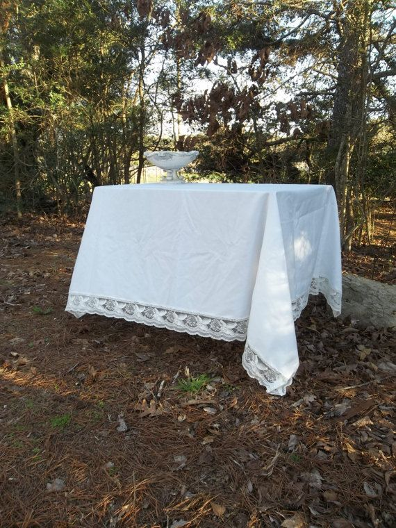 Vintage White Lace Trimmed Tablecloth 50x70 White by misshettie