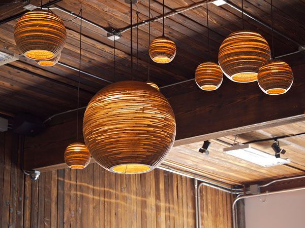Made from salvaged corrugated cardboard | Scraplights by GraypantsLamps, Graypants, Sun Moon, Cardboard Boxes, Lights Fixtures, Lights Shades, Pendants Lights, Cardboard Lights, Design
