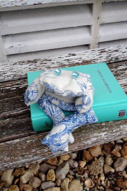 Bean bag frog blue and white toile de jouy soft toy by Kirstyflo