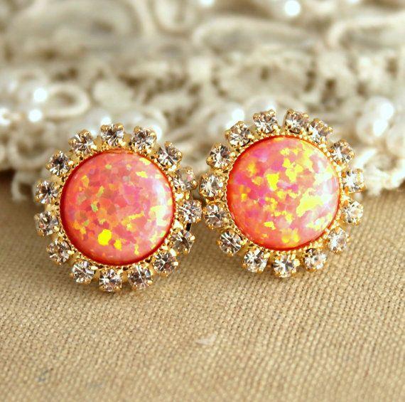 Fire Opal earrings Peach orange Opal stud earrings with white rhinestones bridesmaids jewelry wedding fashion jewelry -  swarovski earrings