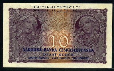 Czechoslovakia money 10 Czech korun banknote,Jaroslava Mucha as Slavia  Husite soldiers.