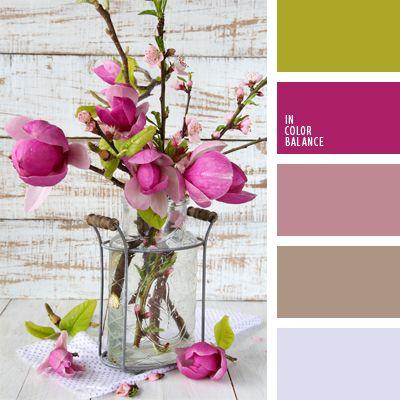 carmesí vivo, color fucsia, color verde hierba, color verde manzana, colores de la magnolia, elección del color, frambuesa, frambuesa y rosado pálido, gris y rosado, marrón, tonos rosados, verde, verde y carmesí.