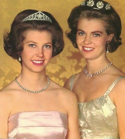 Weekend Bonus: The Queen Louise Diamond Tiara | A Tiara a Day-Princess Désirée, Baroness Silfverschiöld wears the Queen Louise Diamond Tiara and Princess Margaretha, Mrs. Ambler wears the Diamond Four Button Tiara