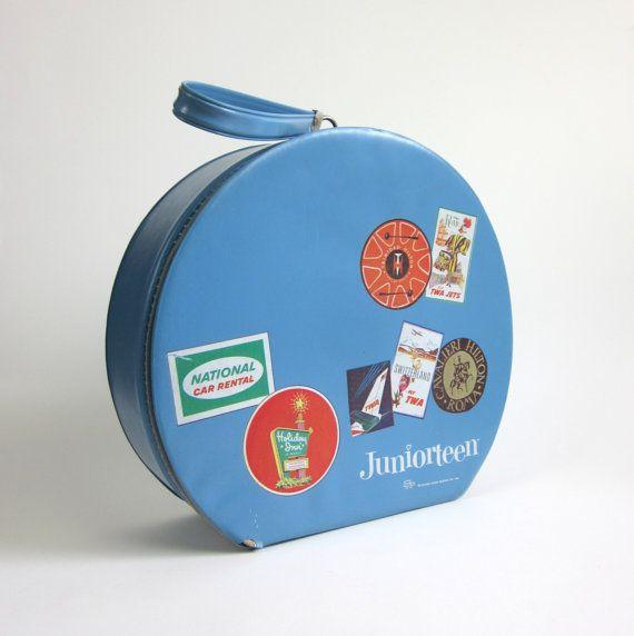 Blue Juniorteen Round Travel Case 1964