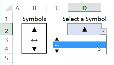 Drop down list with symbols in Excel
