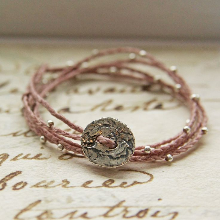 Rose waxed Irish Linen Sterling Silver Quintuple Wrap Bracelet or Necklace
