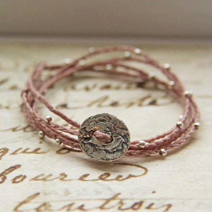 Rose waxed Irish Linen Sterling Silver Quintuple Wrap Bracelet or Necklace