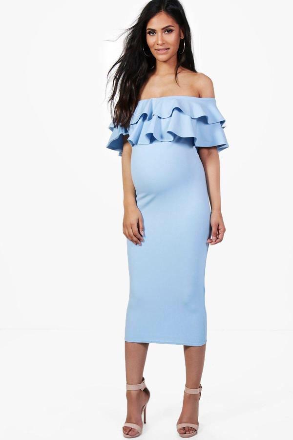 $20 | Maternity Lauren Ruffle Off The Shoulder Midi Dress | maternity fashion | maternity clothes | maternity dress | maternity wardrobe | maternity outfit | #ad