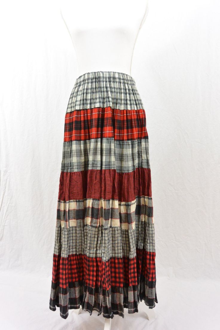 Vintage Maxi Skirt, Flannel Maxi Skirt, Broomstick Skirt, Grunge, 90's Clothing, Tumblr Clothing, Witch, Mori Girl, Size XS-Medium by littleraisinvintage on Etsy
