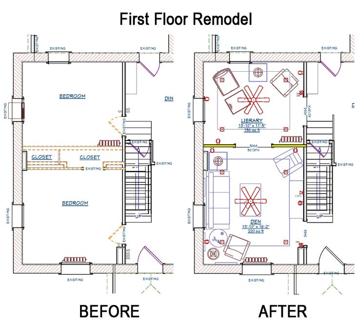 floor plans for the remodel of a family home over 100 years old