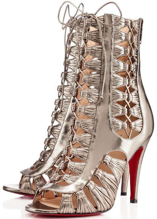 "Louboutin silver lace up high heel ""Azimut"" Booties"