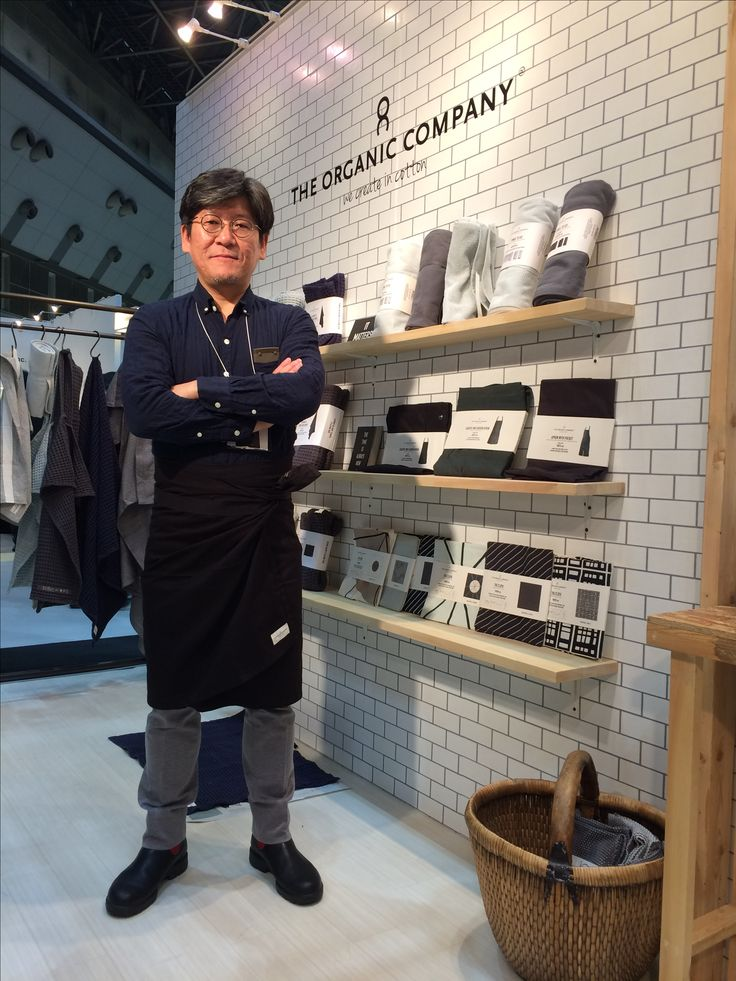 "Our distributor, Marcs International. IFFT fair, Tokyo. Wearing a ""towel to wrap"" #theorganiccompany"