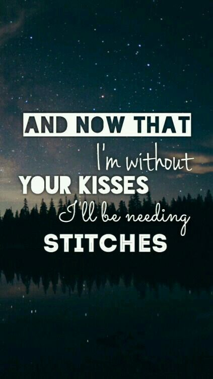 Now that I'm without your kisses I'll be needing stitches ... Shawn Mendes