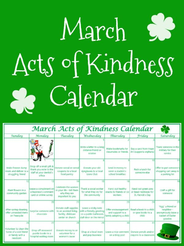 Download a free printable March Acts of Kindness Calendar.