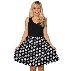 Black, sleeveless A-line dress with tank-style straps and the logos for The Avengers, S.H.I.E.L.D, Captain America, Iron Man, Hulk, Black Widow, Hawkeye, and Thor in white on the skirt.