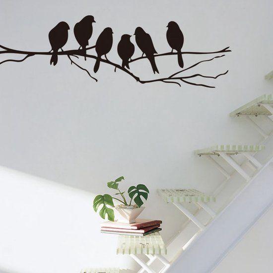 Muursticker Vogels Op Boom Tak - Wandsticker Voor Woonkamer / Slaapkamer / Kinderkamer Etc.