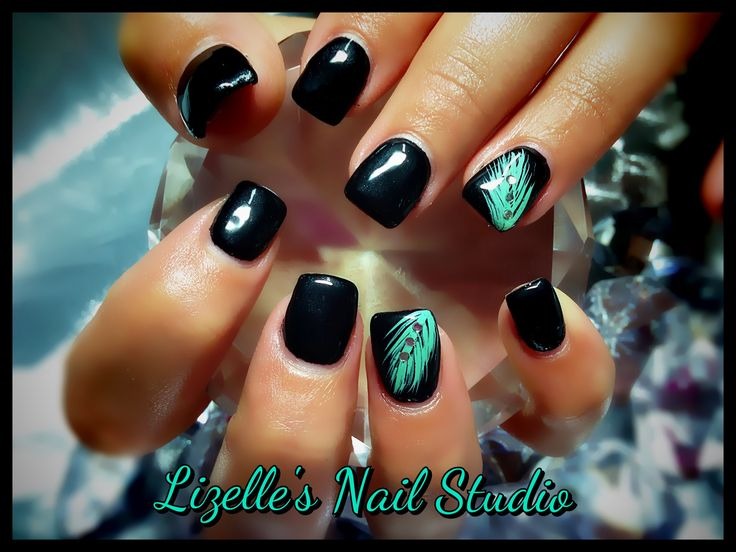 Full black nails with hand painted mint feather & gems on accent nails. Hand-painted nail art. Sculpted gel nails. www.facebook.com/LizellesGelNails