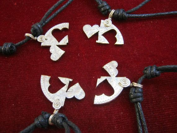 Friendship Necklaces for 4 People | Piece puzzle friendship couples necklace pendant silver coin jewelry ...