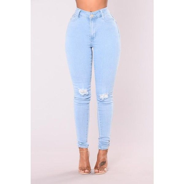 Do My Dance High Waist Jeans Light ($20) ❤ liked on Polyvore featuring jeans, ripped jeans, skinny jeans, high waisted jeans, blue skinny jeans and blue ripped jeans