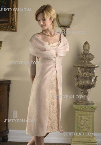 Knielengte kant moeder van de bruid jurk