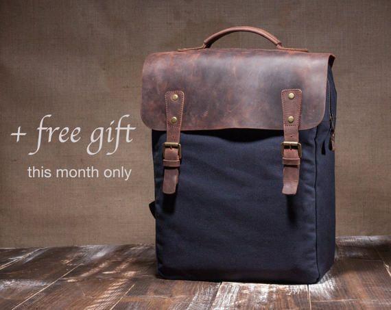 Canvas backpack men - hipster backpack - mens backpack - canvas rucksack - laptop bag by Tram21