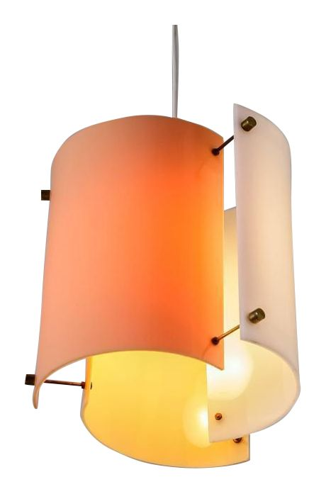 A Yki Nummi 1960s pendant lamp for Orno, Finland. The lamp is made of three semicircular plexiglass elements in different colors (peach, yellow and orange), held together with thin brass rods. The colored plexiglass creates a beautiful, atmospheric light distribution. A variation with a red, black and white color combination is also available.