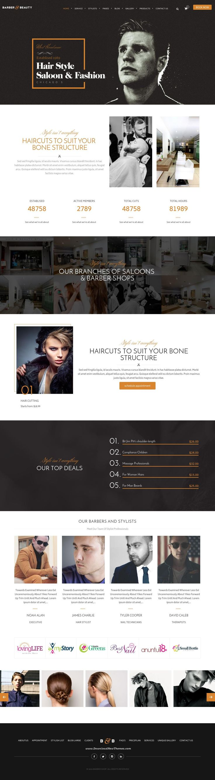 HairLoom Responsive WordPress Theme for Barbers & Hair Salons Website #hairstyle #templates #barber