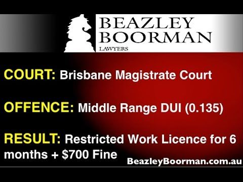 Brisbane DUI Lawyers successful Drink Driving Work Licence Application Qld • Beazley Boorman Lawyers