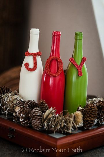 JOY Wine Bottle Set - Cute and Crafty Wine Bottle Decoration