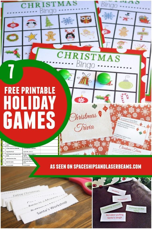 Free printable holiday and Christmas games -- great for class parties or family gatherings!