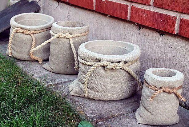 Картинки по запросу садовые горшки из бетона своими руками