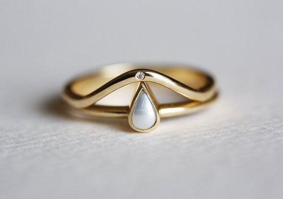 Wedding Ring Set, Pearl Wedding Ring, Stacking Diamond Ring, 14k GOLD rings
