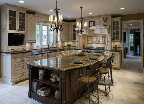 Love The Island It 39 S A Contrasting Color To The Cabinets Great Medium Dark Wood And Styling